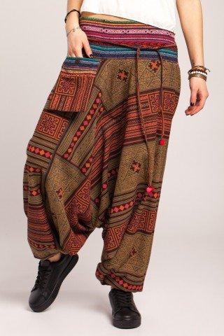 Salvari multicolori cu imprimeu tribal si brau