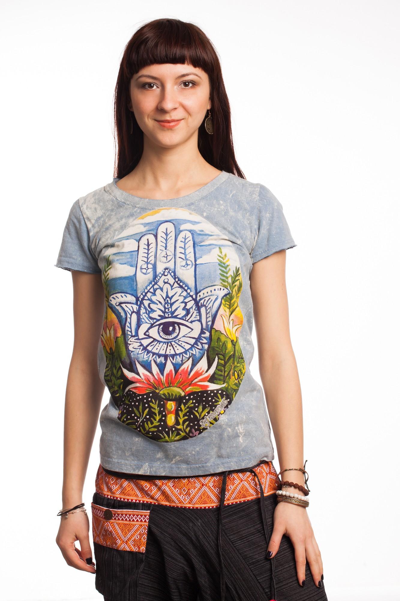 Tricou bleu Lotus Hamsa