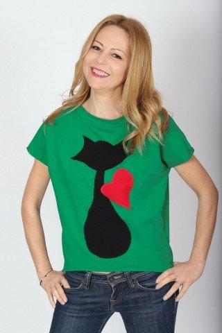 Tricou din bumbac verde Pisica indragostita