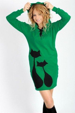 Rochie hanorac verde cu pisici aplicate handmade