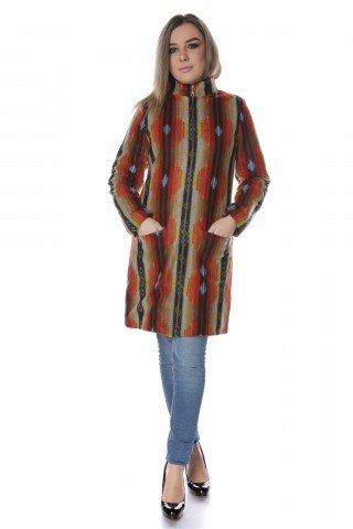 Palton stofa multicolora romburi