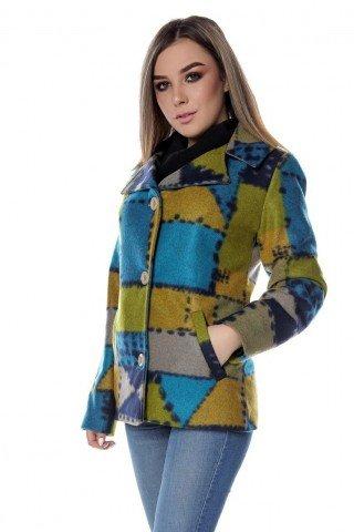 Sacou din stofa multicolora