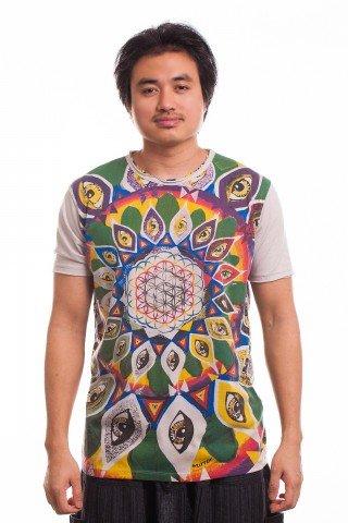 Tricou beige imprimat Third Eye Mandala