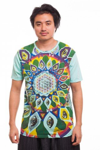 Tricou bleu imprimat Third Eye Mandala