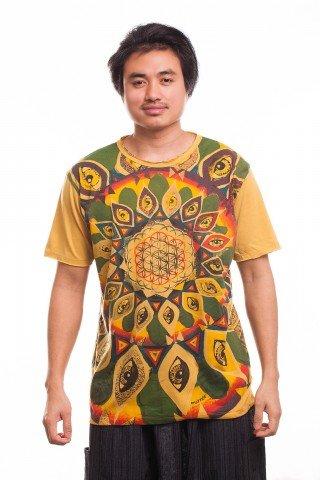Tricou galben Third Eye Mandala