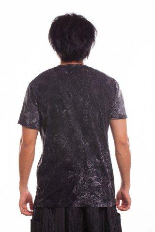 Tricou negru stonewashed Hamsa