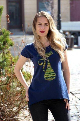 Tricou bleumarin din bumbac, imprimeu pisica etnica