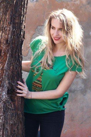 Tricou verde din bumbac, imprimeu pisica etnica