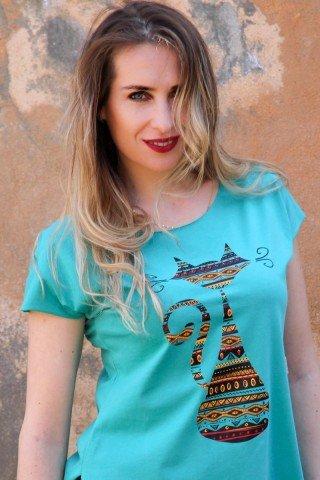 Tricou turcoaz din bumbac, imprimeu pisica etnica