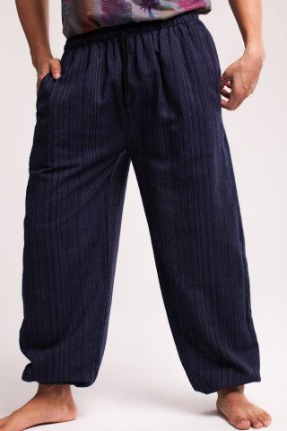 Pantaloni bleumarin texturat cu elastic la glezna