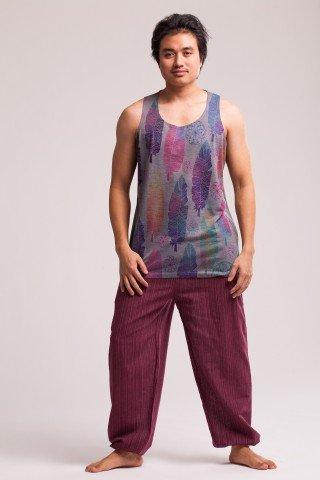 Pantaloni grena texturat cu elastic la glezna