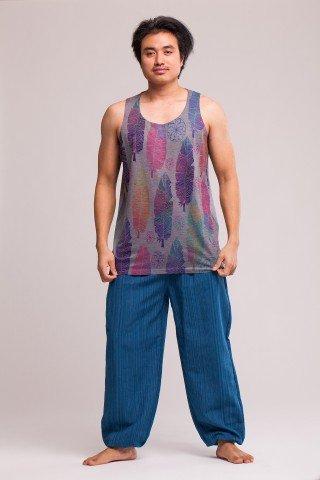 Pantaloni albastru texturat cu elastic la glezna