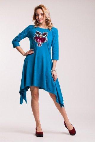 Rochie albastra asimetrica cu aplicatie din paiete reversibile