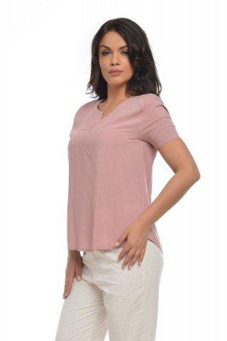Bluza casual roz cu maneca scurta