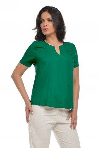 Bluza casual verde cu maneca scurta