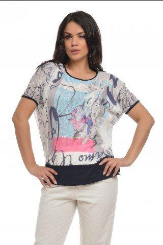 Bluza din vascoza cu imprimeu multicolor