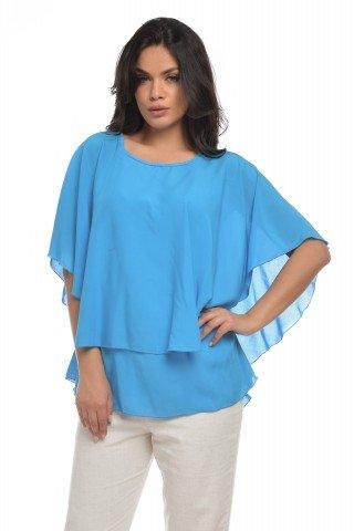 Bluza din vascoza albastra cu volane