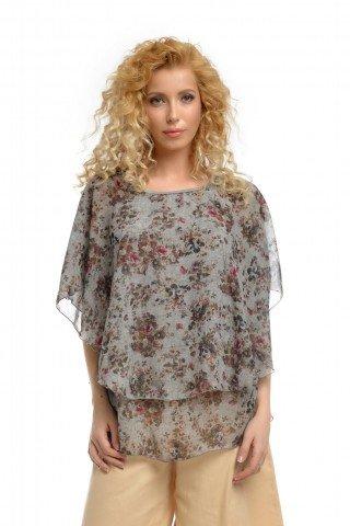 Bluza eleganta din voal cu imprimeu floral