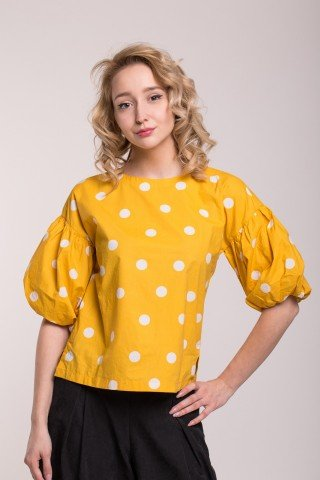 Bluza galbena polka dots cu maneci bufante
