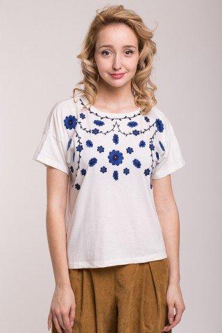 Tricou alb cu broderie florala bicolora