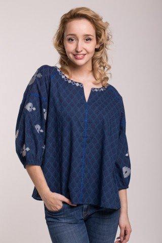Bluza bleumarin cu imprimeu etnic si maneci bufante
