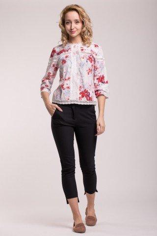 Bluza cu imprimeu floral si dantela