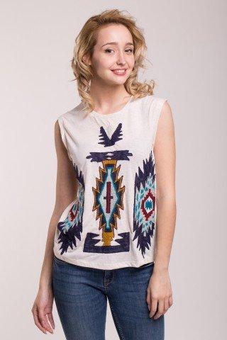 Bluza alba cu broderie tribala multicolora