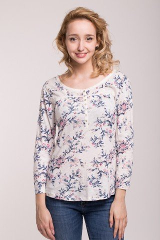 Bluza din bumbac cu imprimeu floral si nasturi
