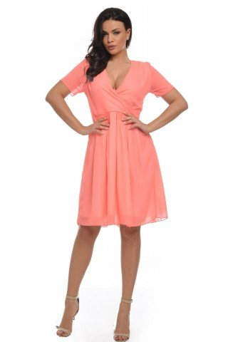 Rochie casual coral