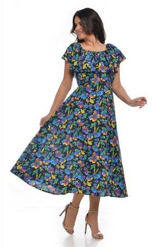 Rochie cu volan multicolora
