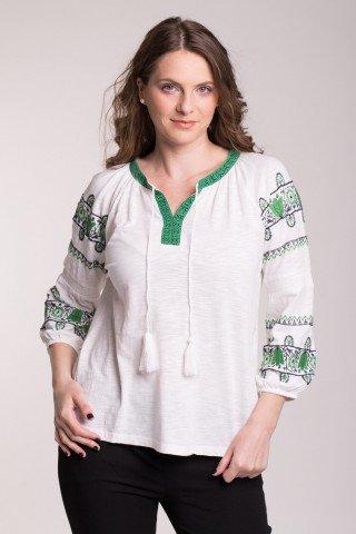 Bluza alba din bumbac cu broderie verde