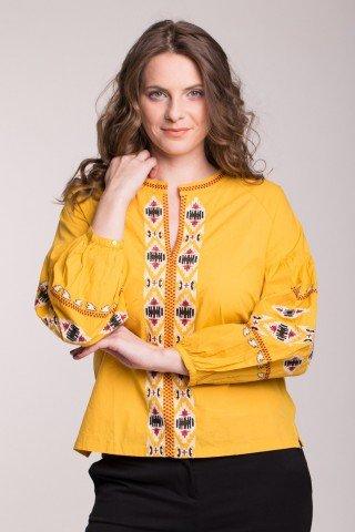 Bluza galbena din bumbac cu broderie traditionala