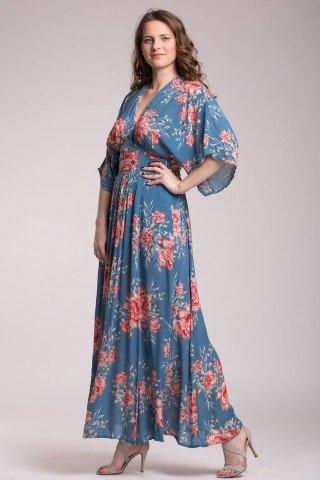 Rochie lunga albastra cu imprimeu floral