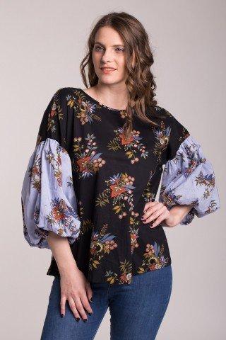 Bluza casual bumbac cu imprimeu floral si maneci bufante