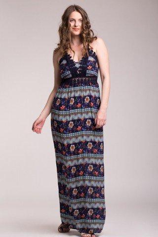 Rochie lunga cu bretele bleumarin