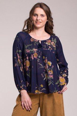 Bluza bleumarin cu imprimeu floral roze