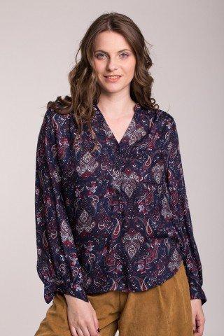 Bluza bleumarin imprimeu paisley maur