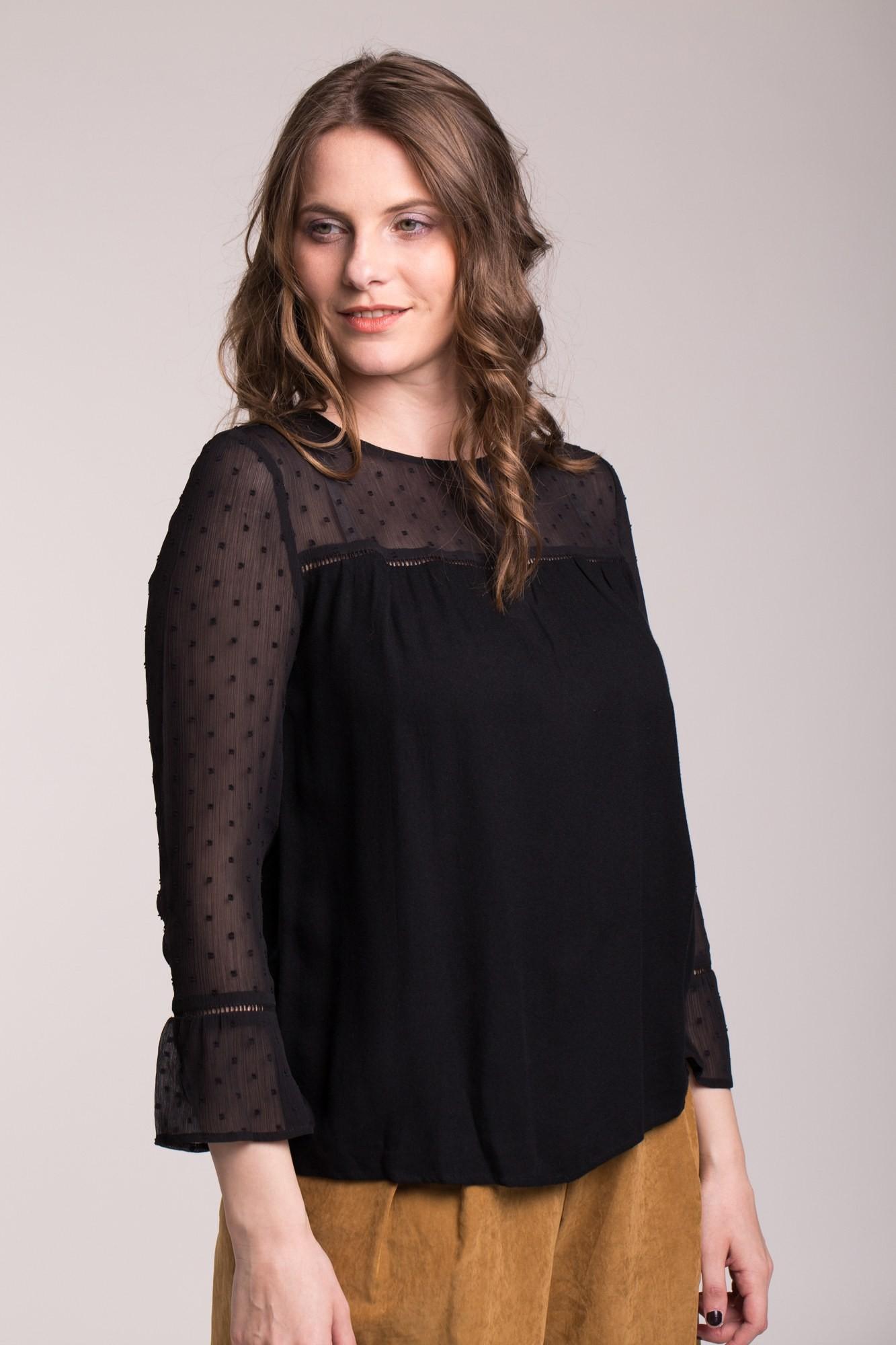 Bluza neagra eleganta cu voal