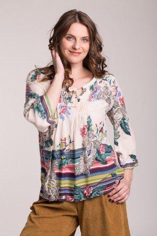 Bluza crem cu imprimeu multicolor floral