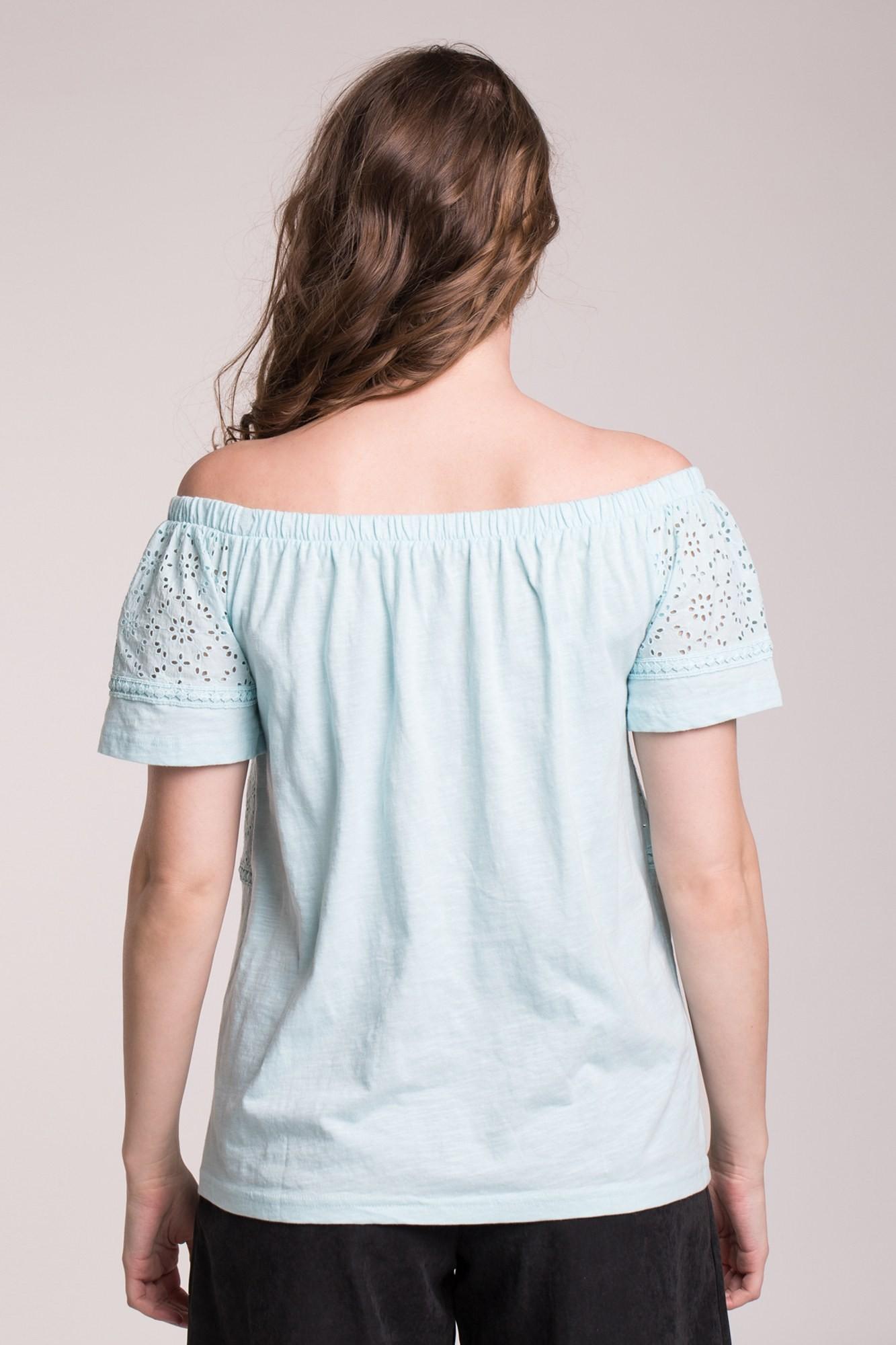 Bluza bleu cu elastic umeri si broderie maneci