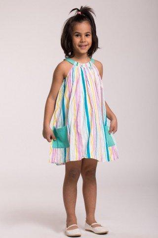 Rochie alba cu dungi colorate