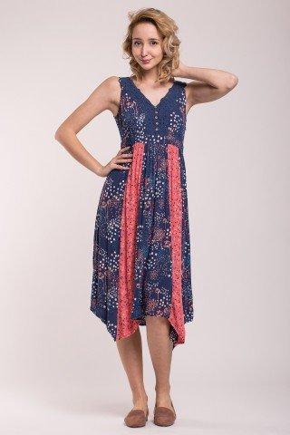 Rochie asimetrica multicolora cu decolteu brodat si nasturi