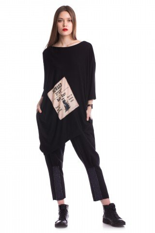 Bluza asimetrica neagra Belle Starr