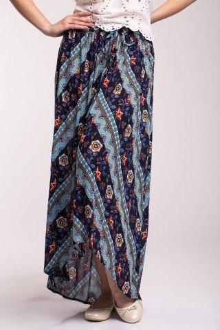 Fusta lunga bleumarin cu imprimeu floral