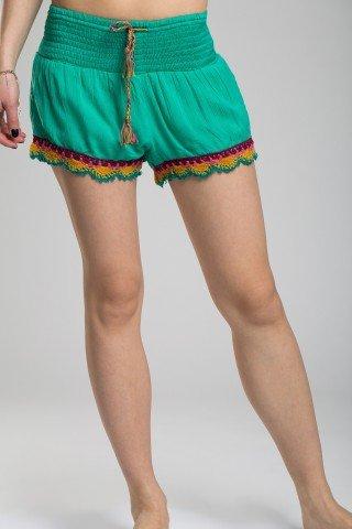 Pantaloni scurti verzi cu margine colorata