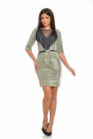 Rochie din lurex metalizat, franjuri piept,  Dress To Impress