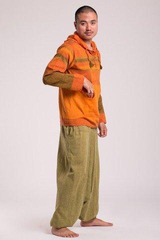Hanorac cu galben - orange din bumbac cu gluga