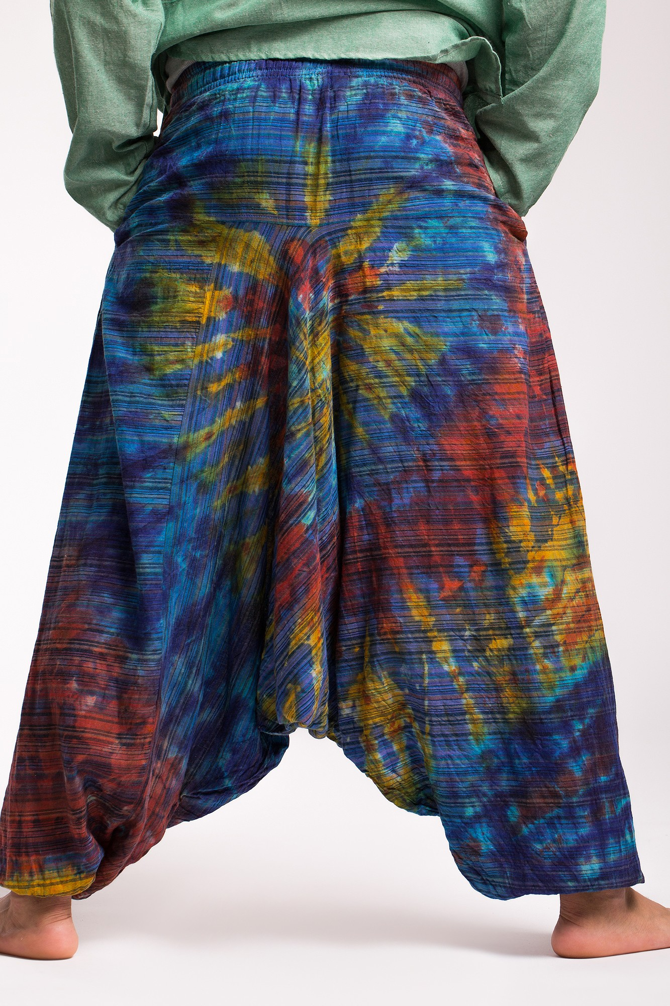 Salvari multicolori Tie-Dye cu dungi