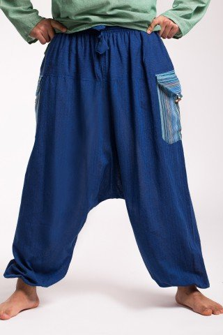 Salvari unsex albastri cu buzunare aplicate