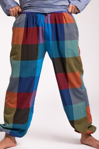 Pantaloni in carouri multicolore